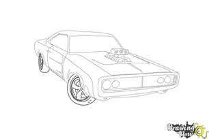 draw a 1970 dodge charger from the fast and furious drawingnow sketch template