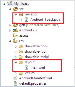 android layout xml structure how to create a toast message in android