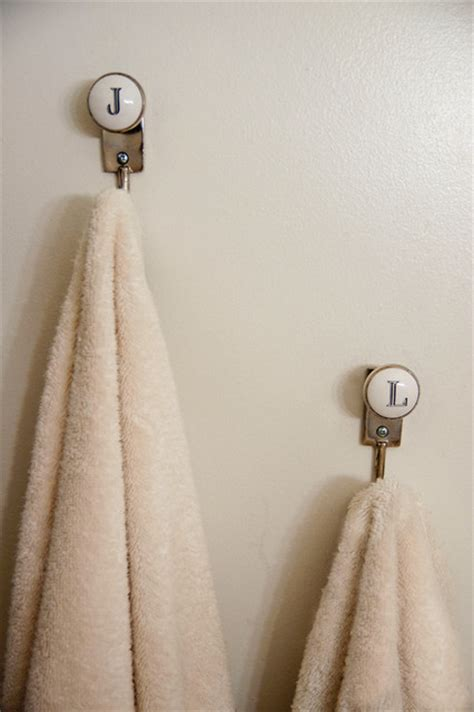 towel hooks for bathrooms initials towel hooks eclectic bathroom new york by
