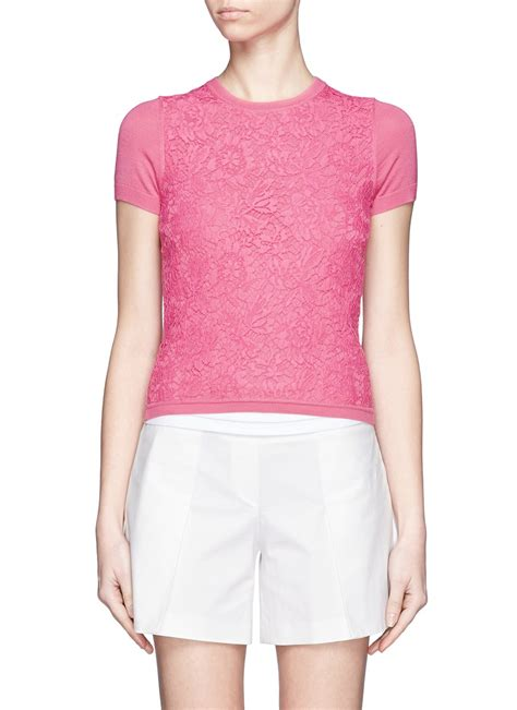 Panel Sleeve Knit Top valentino lace front panel sleeve knit top in pink