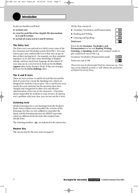 test file new files intermediate test booklet