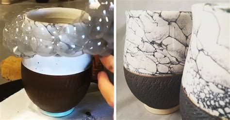 10 Uses Of Ceramics - this artist uses bubbles for painting pottery bored