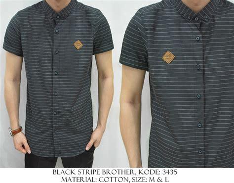 Kemeja Florence Stripe Biru Hitam jual kemeja cowok pria kerja kantor bross stripe garis hitam putih shirt store