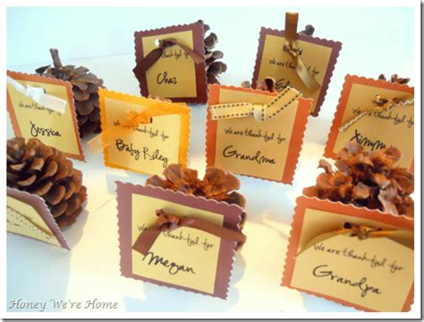 thanksgiving cards to make at home thanksgiving diy pinecone place cards honey we re home