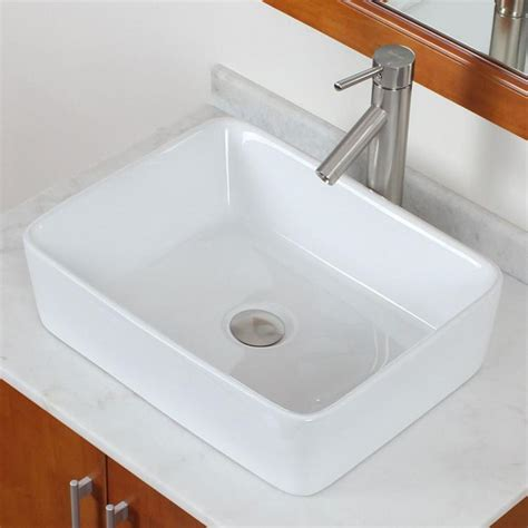 kitchen sink faucet combo bathroom square white ceramic porcelain vessel sink