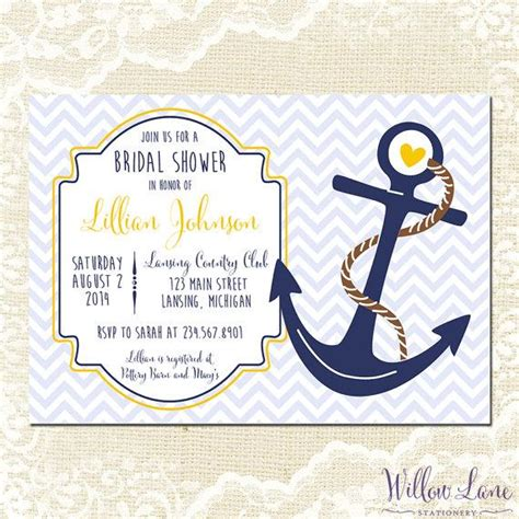 free printable wedding invitations nautical nautical bridal shower invitation anchor bridal shower