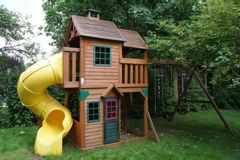 wooden playhouse with swing and slide images memorial pinterest