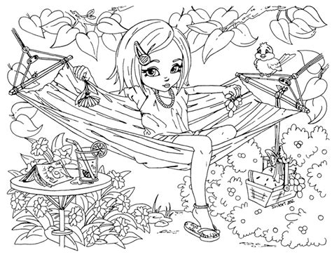 hard summer coloring pages printable summer time girl enjoy on hammock coloring pages