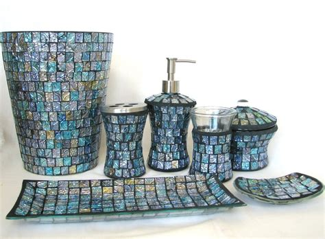 glass bathroom trash can 7pc blue glass mosaic soap dispenser dish toothbrush