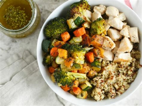 vegetables quinoa roasted vegetable and chicken quinoa bowls for two recipe