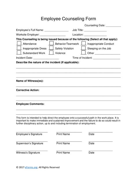 free employee counseling form word pdf eforms free