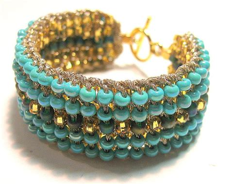 beaded cuff bracelet two in one retro seed bead knitted cuff by sereba designs