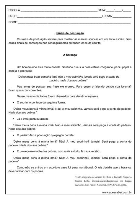 Atividade de-portugues-pontuacao-5º-ano