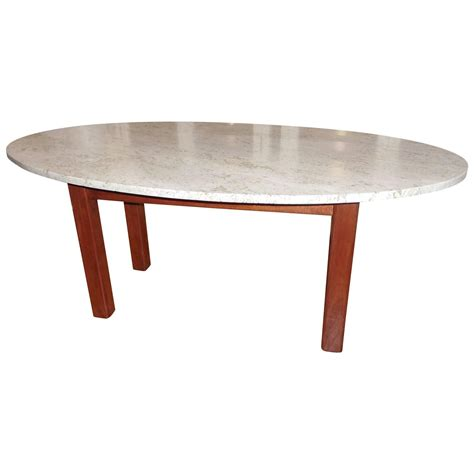 Oval Wooden Coffee Table Mid Century Oval Travertine And Wood Coffee Table For Sale At 1stdibs