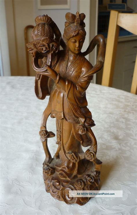 antique oriental chinese japanese carved box wood figure