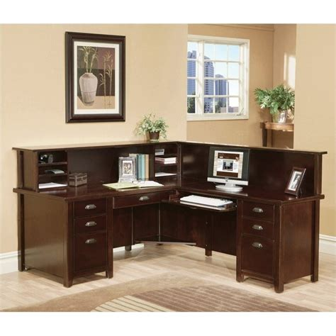 L Shaped Executive Desk With Hutch Kathy Ireland Home By Martin Tribeca Loft Cherry Rhf L Shaped Executive Desk With Reception