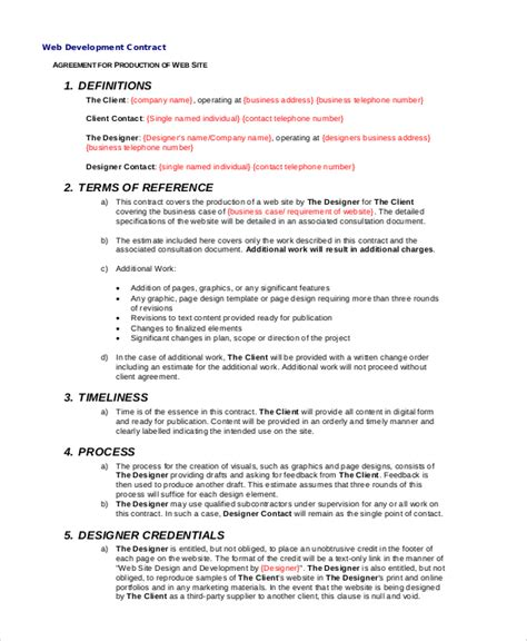 development agreement template sle website development agreement 7 documents in pdf