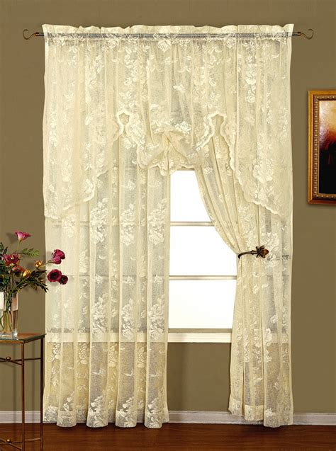 ivory lace curtains abbey rose crushed lace curtains ivory lorraine view