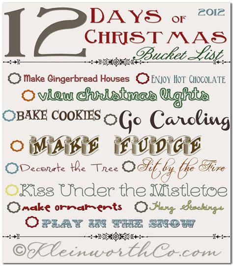 printable christmas bucket list 12 days of christmas bucket list free printable