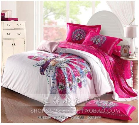 pink comforter set queen aliexpress com buy peacock bird print hot pink bedding