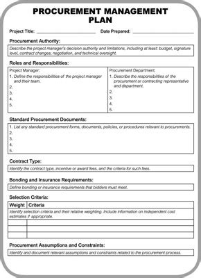 Procurement Document Template procurement management plan template template