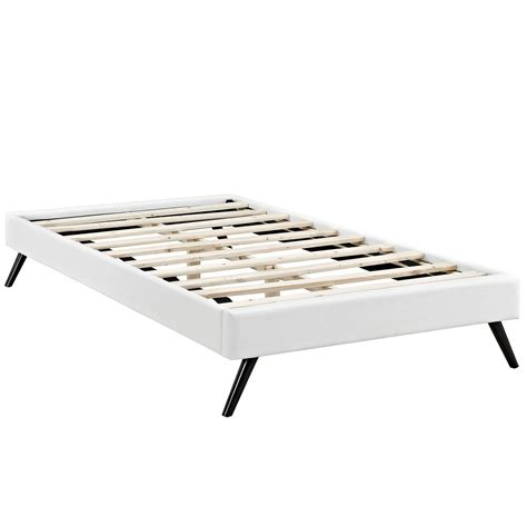 white platform bed frame helen mid century twin vinyl platform splayed leg bed