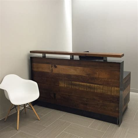 Metal Reception Desk Reclaimed Wood Steel Reception Desk
