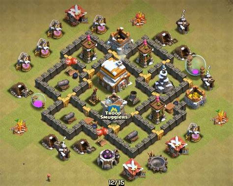 layout coc town hall level 5 clash of clans town hall 5 farming defense best base