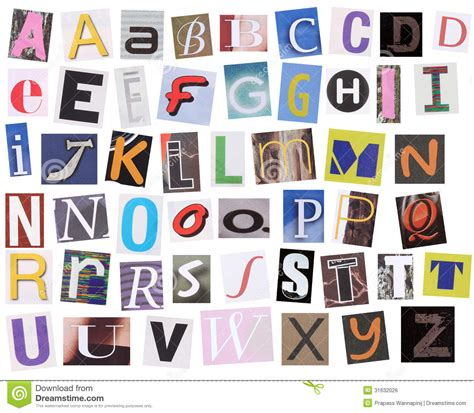haircut and style magazine english alphabet cut from magazine stock photo image