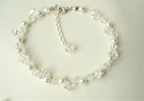 Handmade Wedding Jewellery Uk - designer clear and pearl cluster bridal bracelet