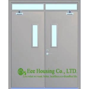 double swing fire doors double leaf swing steel fire rated door with glass vision