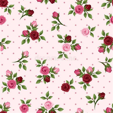 pattern pink rose vetor vintage seamless pattern with red and pink roses vector
