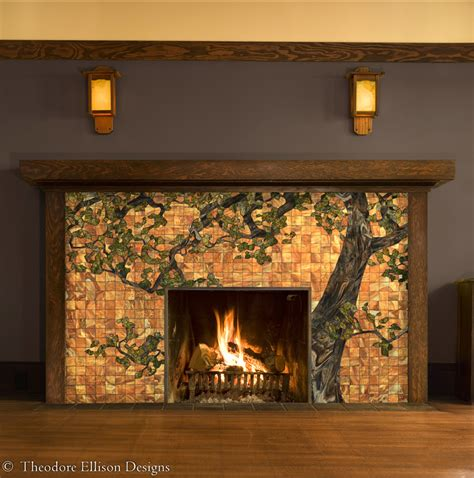 Fireplace Front Ideas by Oak Tree Glass Mosaic For Fireplace Front By Theodore