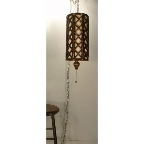 Swag Ceiling Light Vintage Hanging Ceiling Light Faux Bamboo Swag L