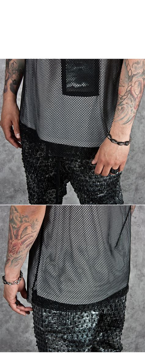 Bn6 Tank Top 2089 tops sold out shark printed patchwork mesh layered tank 89 for only 27 00