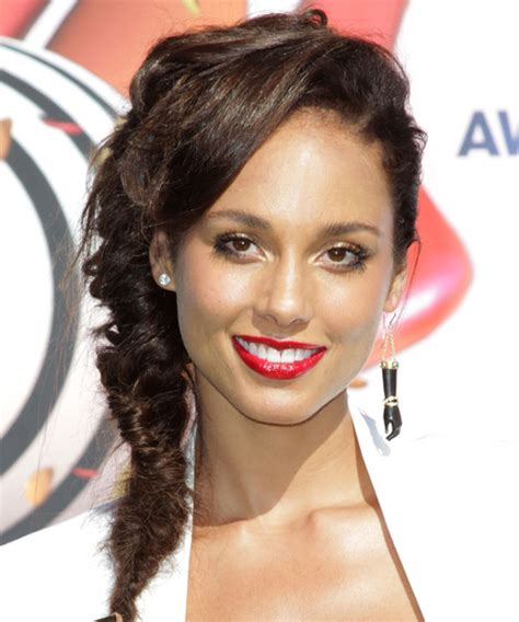 alicia keys updo curly formal hairstyle dark brunette mocha alicia keys updo long curly casual braided updo hairstyle