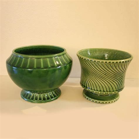 Mccoy Planters by Mccoy Pottery Planter Pair