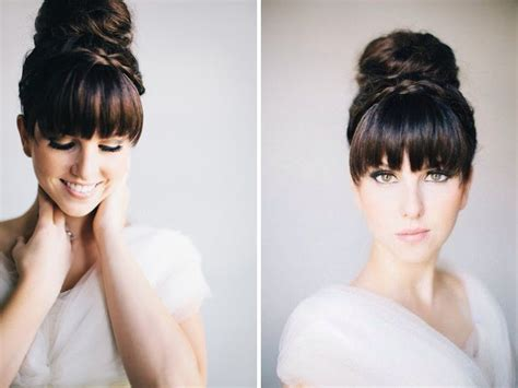 donut bun hairstyle with bangs the 30 best wedding bun hairstyles everafterguide