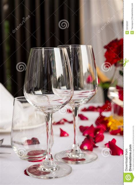 Wine Glass Table Decoration by Wine Glass Table Set With Petals Decorations Royalty
