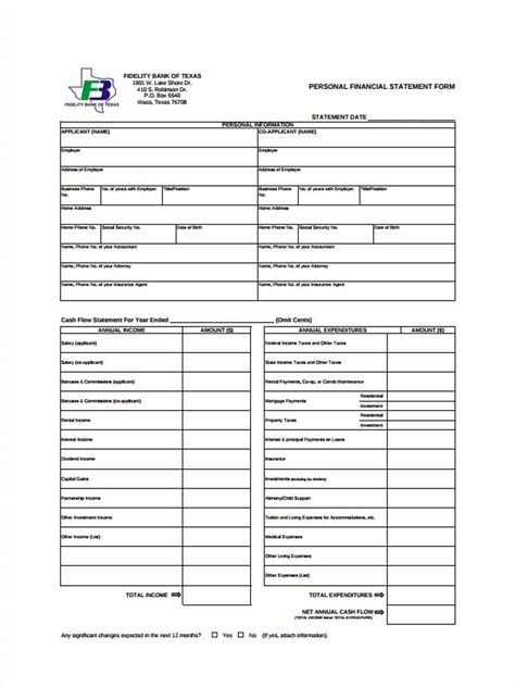 personal financial statement form c101