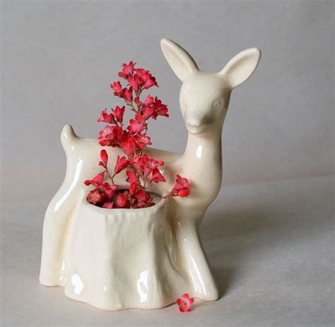 Ceramic Animal Planters by Vintage Fifties Deer Planter Animal Planter White