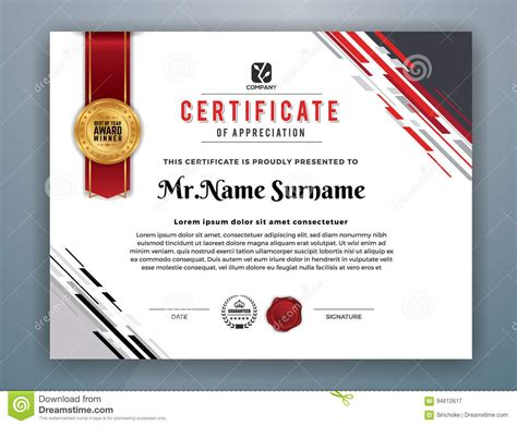 professional award certificate template modern professional certificate template stock vector