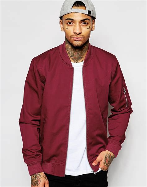 Apparel Lab Bomber Jacket Maroon 2 asos bomber jacket with ma1 pocket in burgundy in purple for lyst
