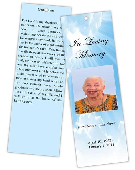memorial bookmarks template free designing memorial bookmarks bookmark template funeral