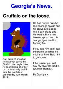 Ks1 Newspaper Report Writing by Breaking News Gruffalo Seen At School Farsley Farfield