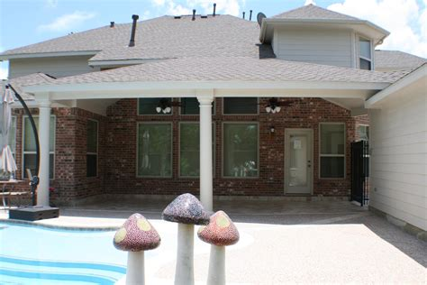 Patio Cover with Natural Stone Floor In Houston, Texas