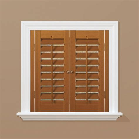 Homebasics Plantation Faux Wood Oak Interior Shutter Interior Window Shutters Home Depot 2