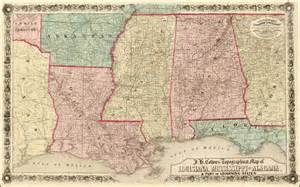 j h colton s topographical map of louisiana mississippi