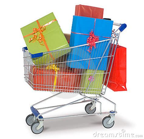 gift for shopping shopping cart with gifts royalty free stock photo image