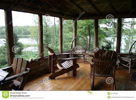 Mountain Lodge Floor Plans Rustic Cabin Porch With Lake View Stock Photo Image